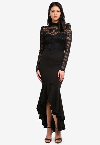 Goddiva black Long Sleeved Fishtail Maxi Dress With Open Back 17F06AA98FAE30GS_1