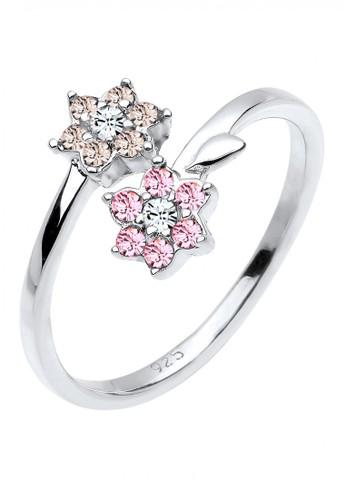 Elli Germany pink Perhiasan Wanita Perak Asli - Silver Cincin Flowers Crystal ADBA0AC2B7069AGS_1