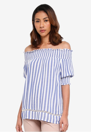 WAREHOUSE blue Stripe Cheesecloth Bardot Top 434FFAAD90C963GS_1