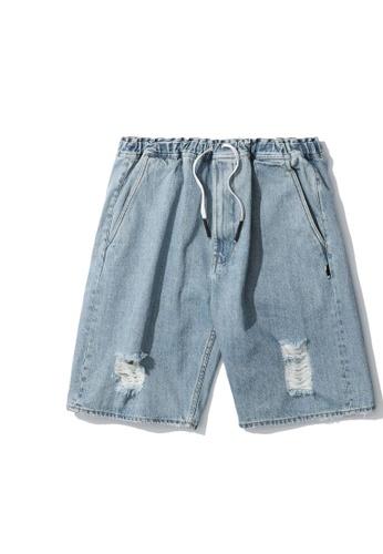 izzue blue Drawstring denim shorts 76E2AAAFE993F9GS_1