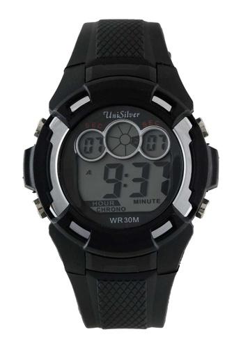 UniSilver TIME black Bucksie Men's Digital Rubber Watch KW2207-1006 F90D3AC89BF654GS_1