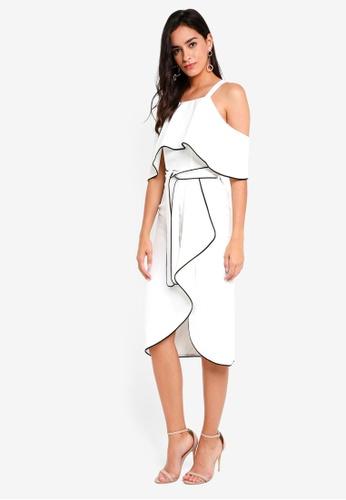 Lavish Alice white Off the Shoulder Contrast Piping Dress LA457AA0SSQTMY_1