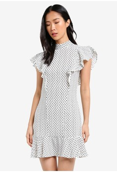 harga Frill Polka Dot Dress Zalora.co.id