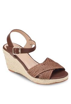 Cross Strap Espdarille Wedge Sandals