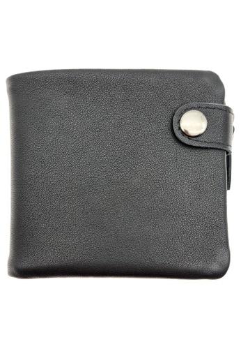 LUXORA black The Ninja Co. Top Grain Leather Billfold Coin Wallet Zip Card Purse Black 00B51AC9EE9762GS_1