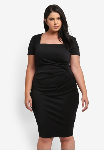 Goddiva black Plus Size Square Neckline Pleated Midi Dress GO975AA0SSBGMY_1