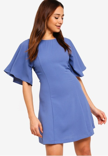 ZALORA blue Flare Sleeves Dress EF5E1AAC6C2162GS_1