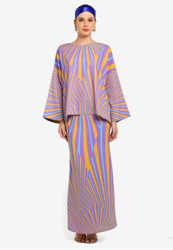Tom Abang Saufi for ZALORA purple and multi Izora Kurung 39648AAFF39468GS_1