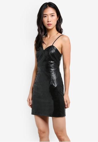 Miss Selfridge black Black Faux Crocodile Design One Shoulder Wrap Dress MI665AA0S2L0MY_1