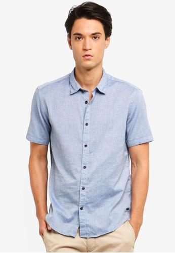 ESPRIT 藍色 Woven Short Sleeve Shirt 0BAC7AA056B91AGS_1