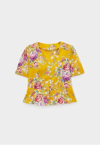 Pomelo yellow Peplum Floral Short Sleeve Blouse - Yellow 0B124AAD2B8AC0GS_1