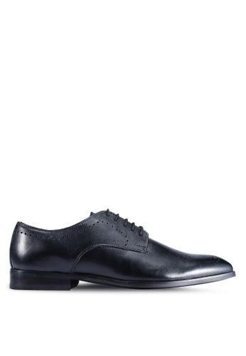 Burton Menswear London black Black Leather Derby Shoes With Brogue Detailing FDA52SHCAA4783GS_1