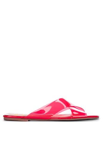 Sofab! red Akira Cross-strap PVC Flat Slides 19BEFSH1A864C1GS_1
