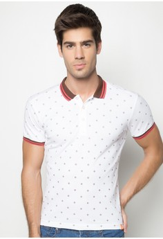 Boys Slim Fit Printed Polo Tee