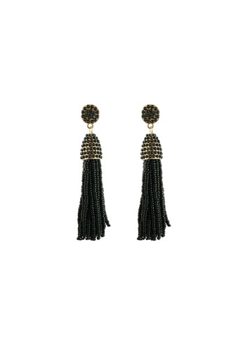 La Miina black Yasmin Seed Beads Long Earrings 2764BAC62D8C0CGS_1