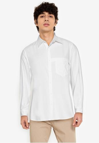 ZALORA BASICS white Chest Strap Shirt F958BAADBD9895GS_1