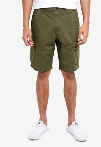 Burton Menswear London green Khaki Orion Cargo Shorts A7B1DAA1DAC345GS_1