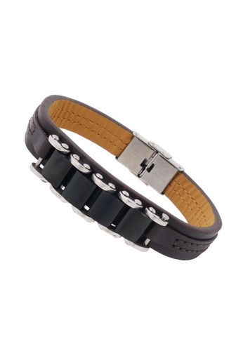 Jaysa Collection brown Stainless Steel Gunmetal Black Links Leather Bracelet JA875AC77BSGSG_1