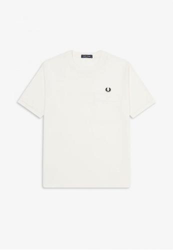 FRED PERRY white M8531 - Pocket Detail Pique Shirt  - (Snow White) 007ADAA4D9BDA9GS_1