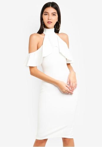 MISSGUIDED 白色 高領褶飾挖肩洋裝 91073AAE5C6D46GS_1