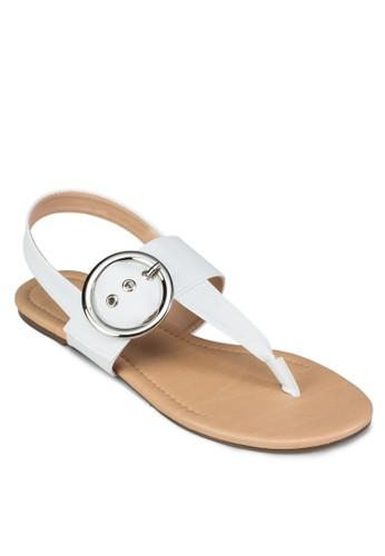 扣環T 字帶繞踝涼鞋zalora taiwan 時尚購物網, 女鞋, 鞋