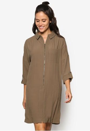 簡約拉鍊襯衫式連身裙, esprit 台灣門市服飾, 服飾