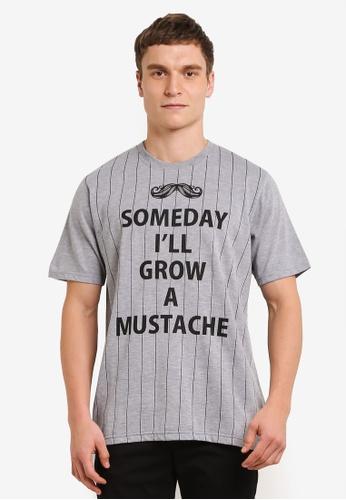 Private Stitch grey Stripe T-shirts with Big Moustache Logo PR777AA0S8QCMY_1