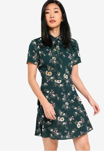 Something Borrowed green and multi Ruffles Shirt Dress 96D2CAAB62ECF9GS_1