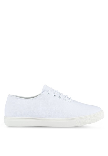 ZALORA white Minimalist Lace Up Sneakers D074BSH3C1AC11GS_1