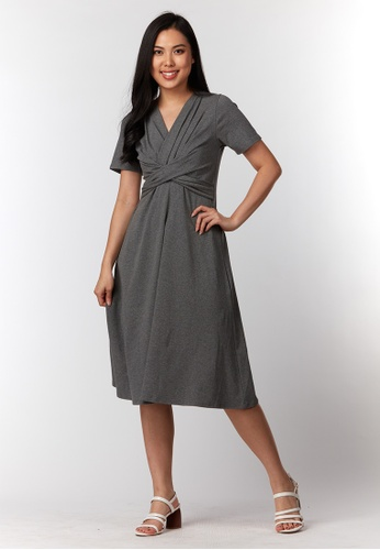 What To Wear grey Cross Draped Details Midi Dress in Grey E354BAAD58A271GS_1