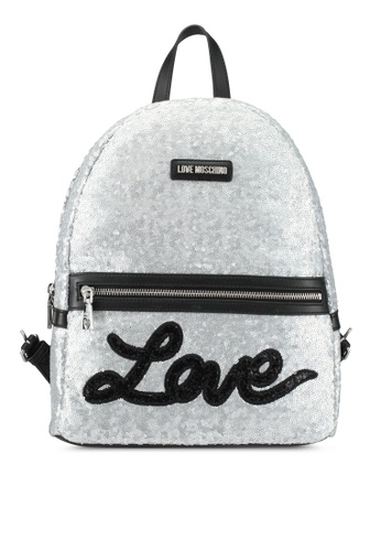 Love Moschino silver Borsa Sequins Metallic Backpack LO478AC0SEJJMY_1