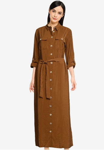LC Waikiki brown Textured Fabric Belted Shirt Dress AFF82AAA66E355GS_1