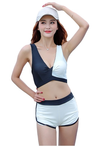 YG Fitness black and white (3PCS) Fashion Sports Swimsuit Set 9B345US5B6FEABGS_1