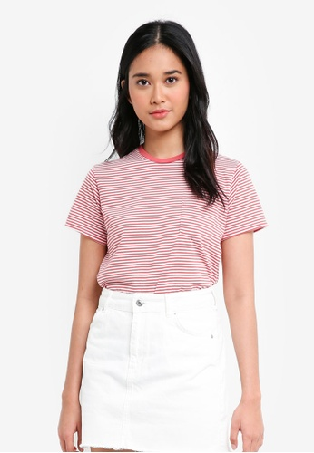 Penshoppe pink The Dress Code Relaxed Fit Tee With Pocket 6D422AA23F443DGS_1