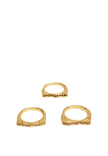 Mango gold Squared Ring Set 20F26AC34C97A0GS_1