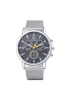 WH0028A Stylish Three eyes Quartz Business Man Watch Stainless Steel Metal Round Dial