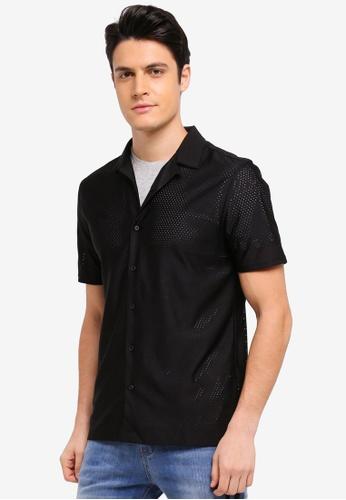 Topman 黑色 短袖網眼襯衫 F66B1AABAC8188GS_1