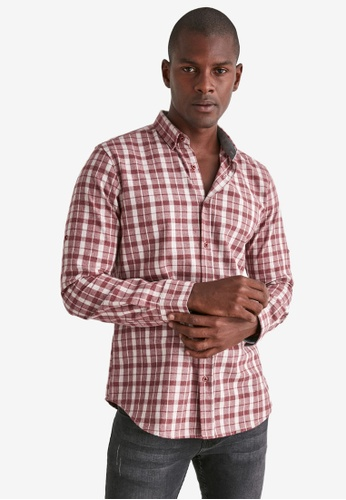 Trendyol red Plaid Slim Fit Shirt 09298AAC0BF7D4GS_1