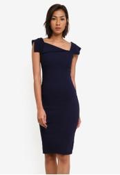 Goddiva navy Asymmetrical Collar Dress GO975AA0SASZMY_1