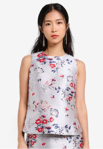 ZALORA blue Jacquard Sleeveless Top 1272EAA7D061A6GS_1