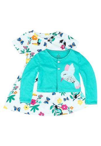 Milliot & Co. blue Ariel Girls' Dress With Cardigan 1E456KAAFB6E62GS_1