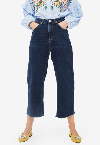 TOPSHOP blue Moto Indigo Cropped Wide Leg Jeans TO412AA0S2ZEMY_1