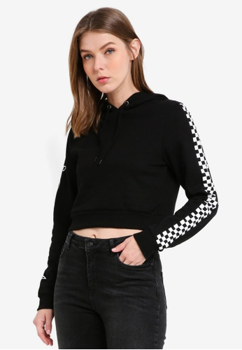 Supre black Graphic Cropped Hoodie 84D7AAAB1D5C42GS_1