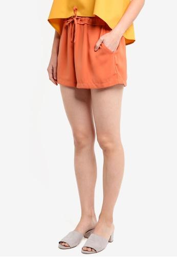 ZALORA orange Ruched Waistband Shorts AAA8AAA84653B2GS_1