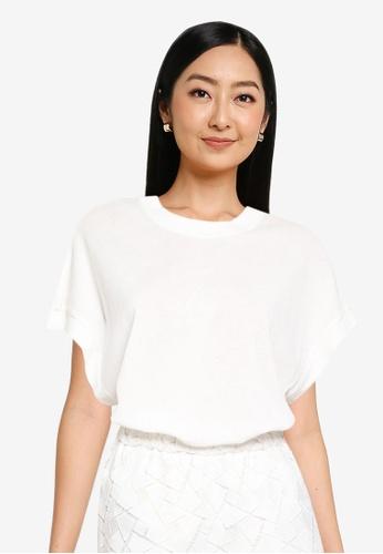 JEANASIS white Curved Hem T-Shirt BA7B3AA1DB2047GS_1