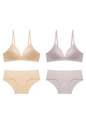K.Excellence purple Premium Comforn Gold & purple Lingerie Set (Bra and Underwear) 20A19USE953E08GS_1