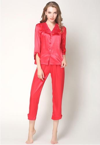 SMROCCO red Silk Long Sleeve Long Pants Pyjamas Set L7019-Red 5DB95AAD2DB9BAGS_1