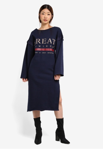 Stylenanda navy Slit Back Oversized Graphic Sweat Dress ST343AA0SXK0MY_1