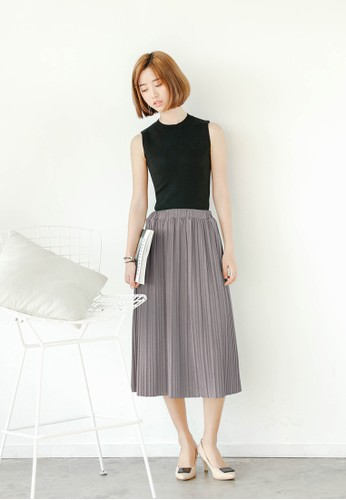 褶esprit tote bag飾及膝短裙, 服飾, 裙子