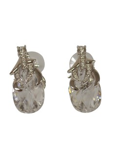 Paris Bijoux LE10547A Rhodium Plated Earring - Crystal
